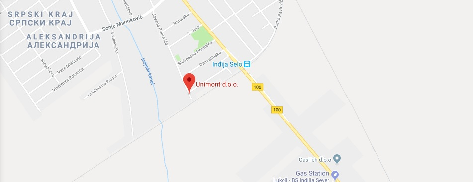 Mapa lokacije firme Unimont d.o.o. Inđija